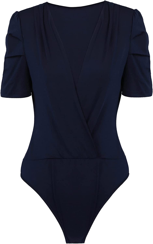 Haitryli Women Wrap Deep V Neck Ruched Casual Summer Work Office Bodycon Bodysuit Shirt