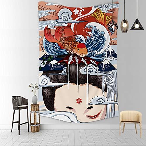 CNYG Manta psicodélica Kanagawa Wave Print Suspensión Manta Colgante de Pared Cama Bohemia Colgante de Pared Decoración del hogar Tapiz de Dormitorio ragazzab 150x180CM