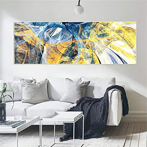 XIANGPEIFBH Pintura de Lienzo de Deriva Amarilla y Azul Sofá Moderno Decoración de Sala de Estar Lienzo Abstracto Impresiones de Arte Decoración para el hogar 40x120cm (16'x47) Sin Marco