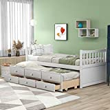 Twin Captain's Bed Storage Daybed with Trundle and Drawers for Kids Teens and...