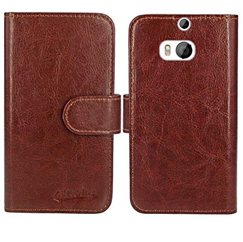 HTC One M8 / M8s Handy Tasche, FoneExpert® Wallet Case Flip Cover Hüllen Etui Ledertasche Lederhülle Premium Schutzhülle für HTC One M8 / M8s (Wallet Braun)