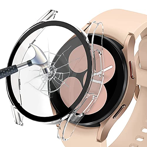 Jvchengxi Funda Compatible con Samsung Galaxy Watch 4 40mm Protector de Pantalla, PC Mate Duro Carcasa Protectora Antiarañazos Vidrio Templado Cubierta Estuche para Samsung Galaxy Watch 4 40mm (Claro)
