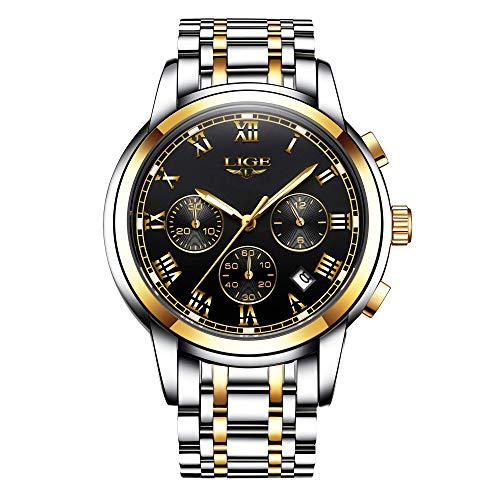 LIGE Relojes para Hombre Completo Acero Inoxidable Impermeable Cuarzo Reloj Negocios Vestido Militar Deportivo Reloj de Pulsera