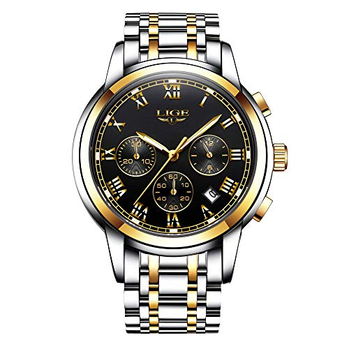 LIGE Uhren Herren Voller Edelstahl Wasserdicht Quarz Analoguhr Herren Business Kleid Armbanduhr Männer Chronograph Datum Sport Militär Uhr