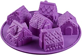 Qiekenao 6 hål silikon kakform, jul pepparkakshus kakform bakverktyg chokladform