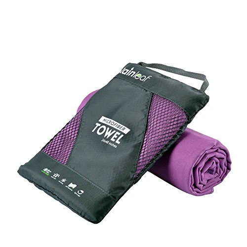 Rainleaf Microfiber Towel,Purple,24 X 48 Inches