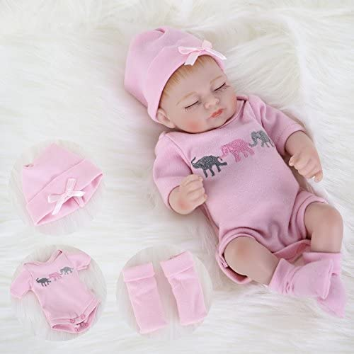 ENA Reborn Baby Doll Realistic Silicone Vinyl Baby Girl 10 inch Lifelike Doll Gift Set for Ages product image