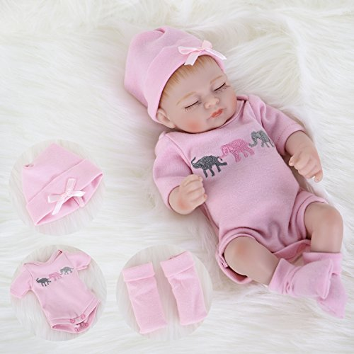 ENA Reborn Baby Doll Realistic Silicone Vinyl Baby Girl 10 inch Lifelike Doll Gift Set for Ages 3+(10 inch, Close Eyes Girl)