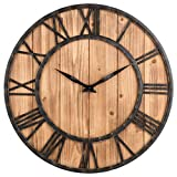 DLSM Reloj de Pared de Hierro de Pino Redondo de 40 CM, Reloj de Pared silencioso de Madera Maciza para Colgar en la Pared-C3