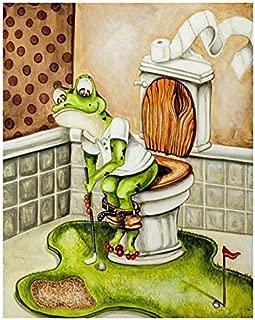 TOOGOO 5D DIY Diamond Embroidery Abstract Frog Toilet Golf Full Diamond Painting Cross Stitch Rhinestone Bathroom Decoration Art