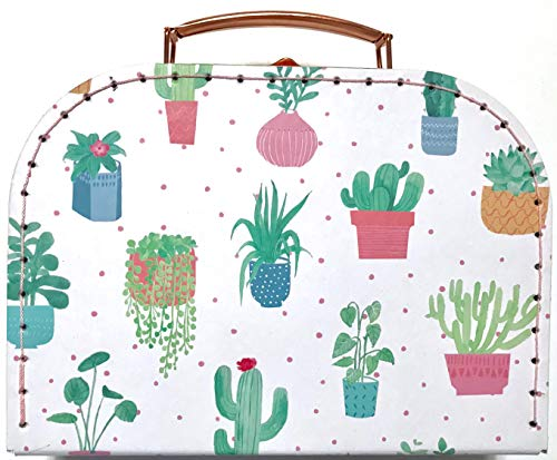 Sass and Belle Suitcase / Storage Box. 3 different sizes. (Pastel Cactus, Small)