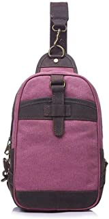 Well-Made Retro Men's Bag Canvas Chest Bag Shoulder Crossbody Outdoor Large Capacity 35 * 7 * H18CM Dynamic (Color : Pink)