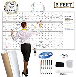 "$49 » Sponsored Ad - Large Reusable Dry Erase Yearly Wall Calendar - Jumbo Premium Laminated 12 month Task Organizer - 38""x72"" U..."