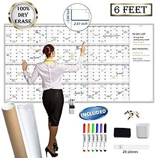 "$49 » Large Reusable Dry Erase Yearly Wall Calendar - Jumbo Premium Laminated 12 month Task Organizer - 38""x72"" Undated Annual P..."