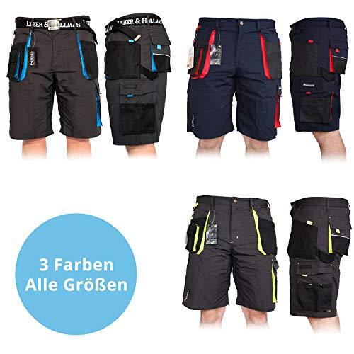 Kurze Arbeitshose für Herren, Bermuda Shorts Sommerhose Sicherheitshose Schutzhose Arbeitsbekleidung Sommer, Blau-Schwarz-Rot, XXXL