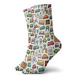 Calcetines suaves de media pantorrilla, varios elementos del interior del hogar, sillón, mesa, espejo, elementos de diseño, estilo garabateo, calcetines para hombres y mujeres