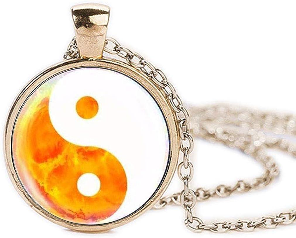 FOY-MALL Fashion Metal Glass Tai Chi Yin Yang Pendant Chain Necklace XL1612N