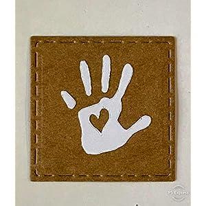 5 x Label Handmade aus Lederimitat Snappap 3×3 cm