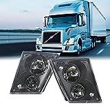 TOYO-INTL Volvo VN/VNL 630 670 730 780 Truck 2003-2017 Fog Light Lamp with 2 Bulbs Truck Fog Lights Pair Set Passenger Right Driver Left Side, Black
