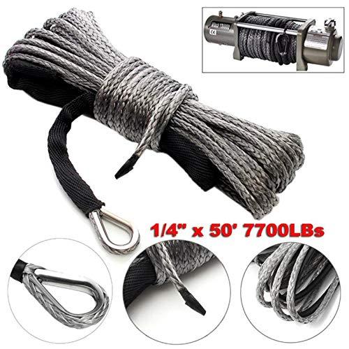Umisu - Cabrestante de cable sintético de 6 mm x 15 m para ATV, UTV, SUV, camping, coche, barco, 4 x 4 con funda de protección y gancho
