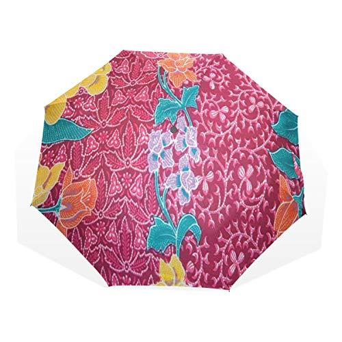 LASINSU Regenschirm,Bunte Blüten im Stil des östlichen traditionellen Bild Druckes des balinesischen Batiks,Faltbar Kompakt Sonnenschirm UV-Schutz Winddicht Regenschirm