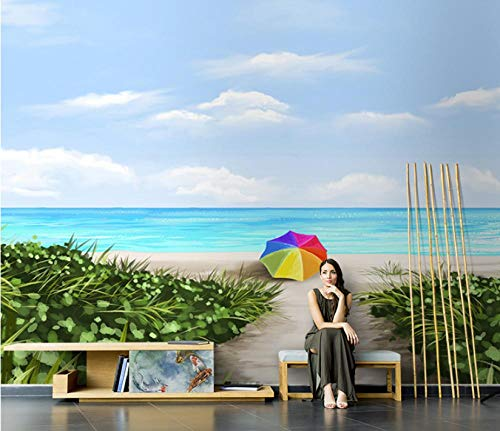 Wall Mural Wallpaper Stickers Beach Colorful Umbrella Self-Adhesive Mural Photo Mural Wall Art Decoration Modern Design for Living Room Bedrooms TV Background -300x210 Cm (WxH)