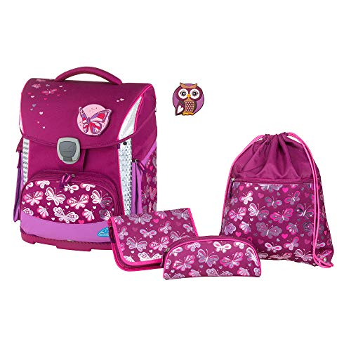 Schulranzenset Plus mit Federmappe, Schlamper und Sportbeutel, Butterfly, leicht, ergonomisch, 4 teilig