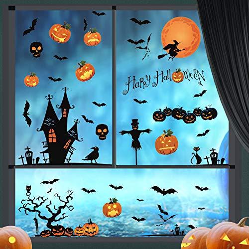 LessMo Halloween Fenster Sticker, 4 Stück Halloween Fenster Aufkleber, Schloss Skelett Hexe Geist Kürbis Schläger Fensterbilder für Halloween Tür Party Haus Spiegel Garten Fenster Deko