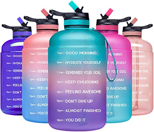 ADOLPH Large Half Gallon Motivational Water Bottle with 2 Lids (Chug and Straw), Leakproof BPA Free Tritan Sports Water Jug with Time Marker to Ensure You Drink Enough Water Throughout The Day-Green1