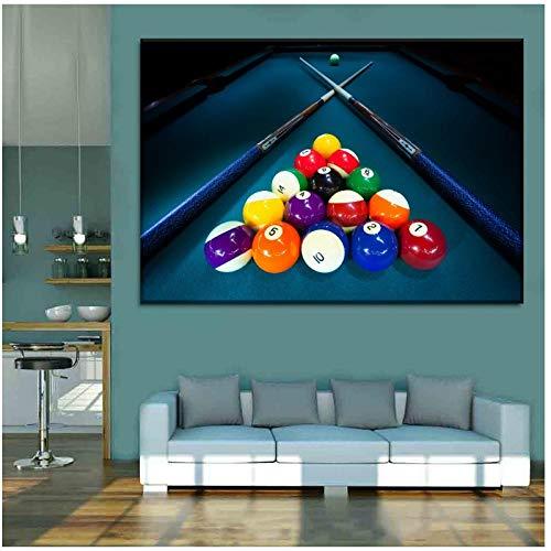 DLFALG Cartel de bolas de colores deportivos de billar y pintura en lienzo Tipo de impresión de alta calidad Imágenes artísticas de pared Obra de arte Club Decoración para el hogar-60x80cm Sin marco