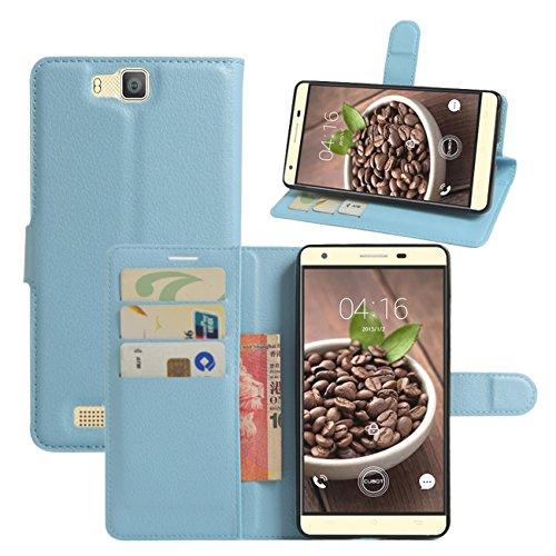 HualuBro Cubot H2 Hülle, [All Aro& Schutz] Premium PU Leder Leather Wallet HandyHülle Tasche Schutzhülle Case Flip Cover mit Karten Slot für Cubot H2 5.5 Inch Smartphone (Blau)