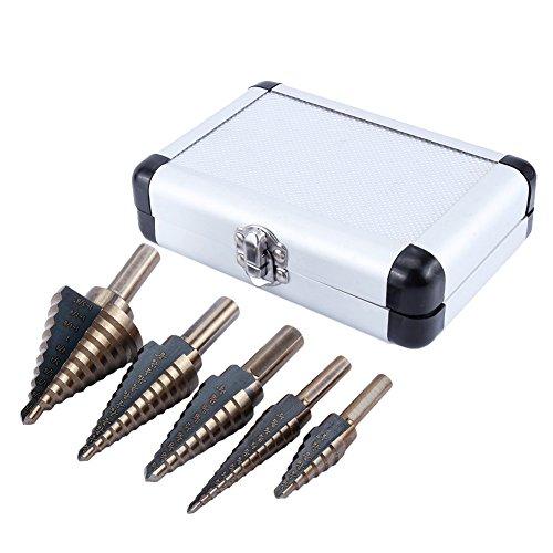 5 brocas para taladro de paso con múltiples agujeros con estuche para cortador de agujeros de madera de metal de 3/16 pulgadas, 1/8 pulgadas, 1/4 pulgadas, 1/2 pulgadas