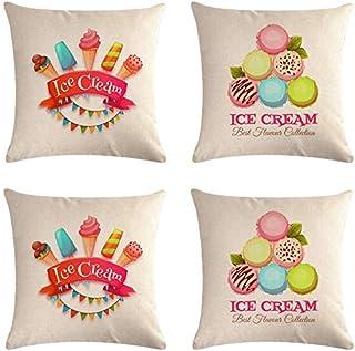 SCVBLJS linne kudde söt glass överdrag uppsättning med 4 kuddöverdrag bil soffa vardagsrum säng dekor kuddöverdrag 45 x 45 cm