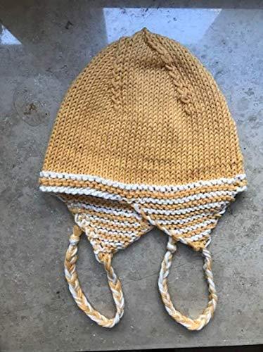 Babymütze 100% Baumwolle Umfang 36cm für 1-3 Monate, handgestrickt gelb weiß