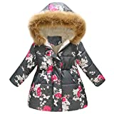 Girls Winter Coats, 2018 Kids Toddler Baby Girls Thick Floral Hooded Warm Long Jacket Coat Outerwear(Gray,6-7Y)