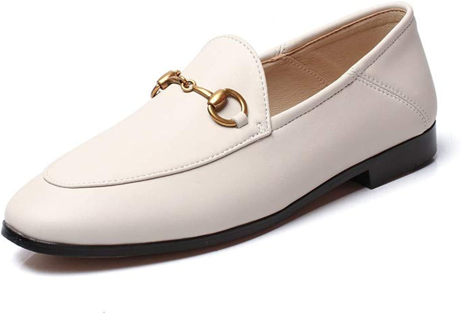Pophight Womens Leather Oxford Backless Slipper Slip-ons Loafer shoes Beige