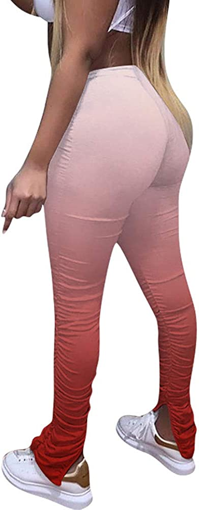 FJPTREN Women's Casual Stacked Pants Drawstring Bell Bottom Flare Leggings Lounge Workout Jogging Trousers