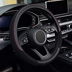 Suitable for all middle-size steering wheels with outer diameter 14 1/2 inch to 15 inch(37cm to 39cm). Made of durable microfiber leather and breathable ice silk ,healthy and eco-friendly,bring you a great touch and feel.Warm in winter and cool in su...
