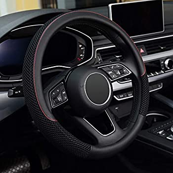 KAFEEK Steering Wheel Cover Universal 15 inch Microfiber Leather Viscose Breathable Anti-Slip,Warm in Winter and Cool in Summer Black