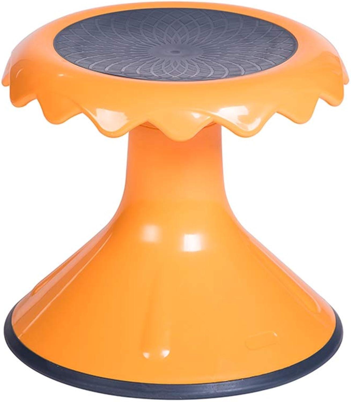 AGLZWY Footstool Multipurpose Plastic Bearing Strong Non-Slip Fashion Adult Living Room Twisted Stool, orange, Yellow (color   orange, Size   33X52cm)
