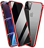 Privacy Magnetic Case for iPhone 11, Anti Peep Magnetic Adsorption Privacy Screen Protector Double Sided Tempered Glass Metal Bumper Frame Anti-Peeping Phone Case Anti-Spy Cover for iPhone 11