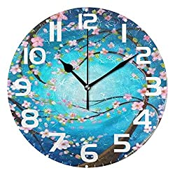 Spring Cherry Blossoms Flower Wall Clock Silent Non Ticking, Blue Tree of Life Clocks Battery Operated Vintage Desk Clock 10 Inch Quartz Analog Quiet Bedroom Living Room Home Decor