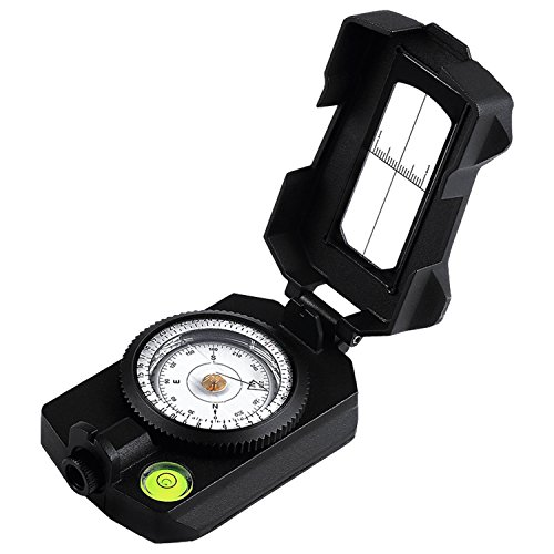 Eyeskey Multifunctional Military Metal Sighting Navigation Compass with Inclinometer | Durable Impact Resistant and Waterproof Instrument for Hiking, Camping, Geography, Boy Scout (Black)