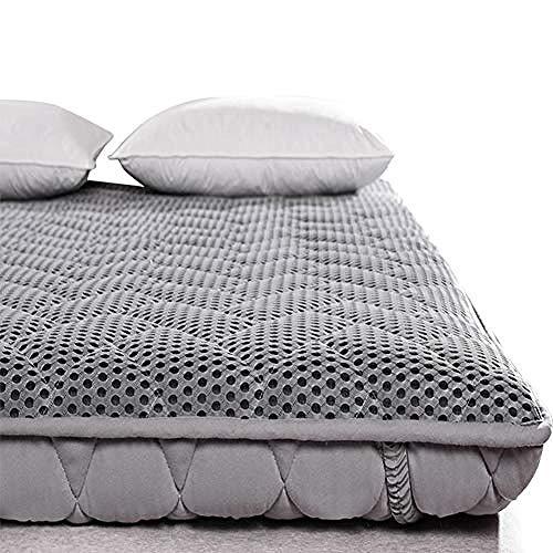 WENZHEN Colchon Gama Alta,Colchón Plegable Enrollable de Malla Acolchado Piso japonés futón Tatami colchoneta para Dormir para huéspedes de Camping Adultos-Gris_120x190 cm (47x75 Pulgadas)