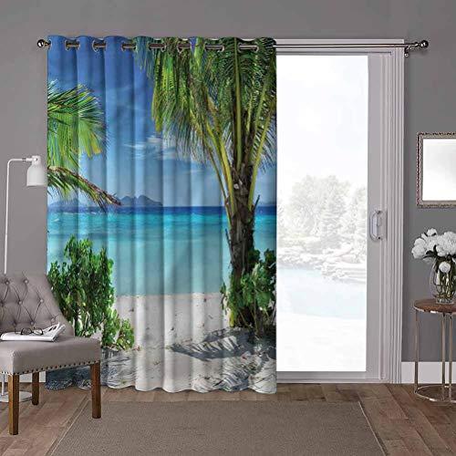 YUAZHOQI Super Heavy-Duty Thermal Sliding Glass Door Drape, Tropical,Idyllic Oceanic Resort, W100 x L96 Inch Home Decor Modern for Kids Nursery(1 Panel)