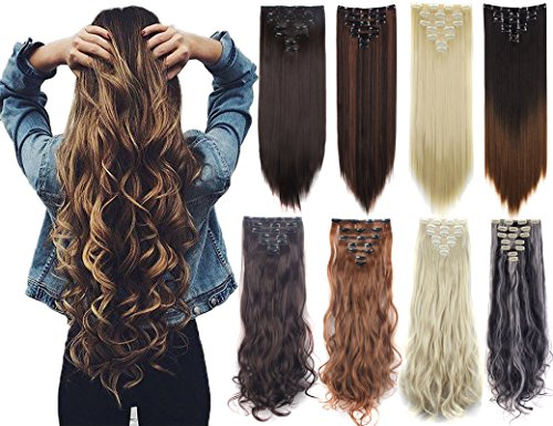 """7Pcs 16 Clips 23""""-24"""" Thick Curly Straight Full Head Clip in on Double Weft Hair Extensions"""
