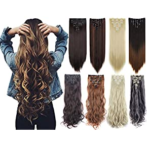 7Pcs Thick Curly Wavy Straight Clip in Double Weft Hairpiece Hair Extensions?