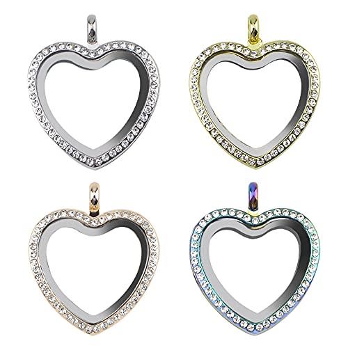 WANDIC Abalorio para fotos de diamantes de imitación, 4 unidades, 4 colores, con forma de corazón, cristal, para novia, ramo de boda, para 2 fotos
