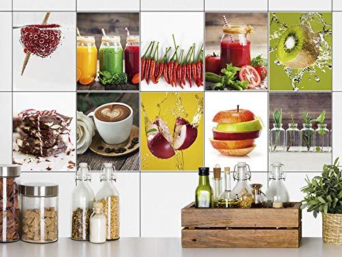 GRAZDesign tegelstickers keuken Goede Appetit antraciet grijs, tegelstickers tegels om op te plakken, plakfolie voor keukentegels 20x25cm Set van 40 stuks.