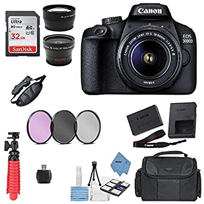 Canon EOS 3000D/Rebel T100/ EOS 4000D Kit with EF-S 18-55mm f/3.5-5.6 III Lens + Accessory Bundle + Model Electronics Cloth by Canon intl.